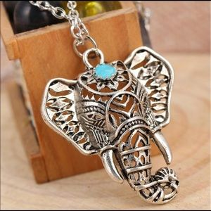 Jewelry - Save the Elephants Silver Necklace with Turquoise